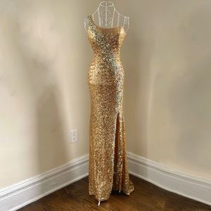 Stunning Gold and AB Crystals Gown